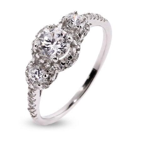 Petite Three Stone Sparkling Past, Present, Future Ring | Eve's Addiction®