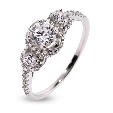 Petite Three Stone Sparkling Past, Present, Future Ring | Eve's Addiction®