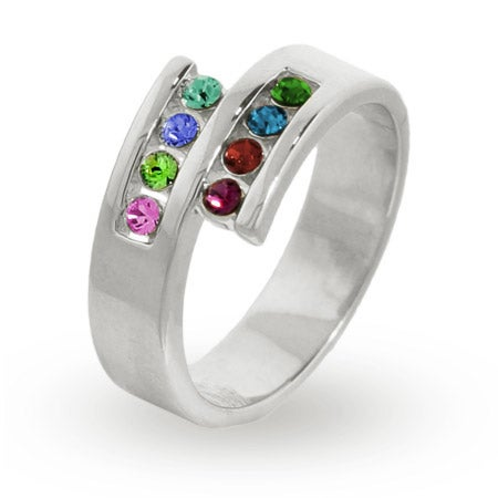 Personalized 8 Stone Sterling Silver Austrian Crystal Mother's Ring | Eve's Addiction®
