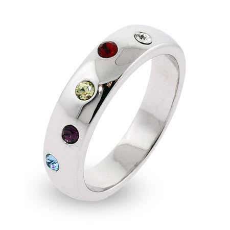 Austrian Crystal 5 Birthstone Twinkling Ring