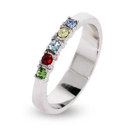 5 Stone Thin Band Mothers Ring with Austrian Crystal Birthstones | Eve's Addiction®