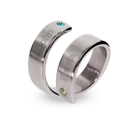Engravable Birthstone Ring for Couples | Eve's Addiction
