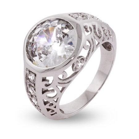 CZ Engagement Ring Inspired by Celebrity Ring