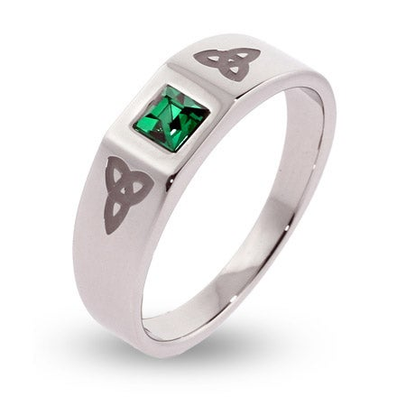 Engravable Celtic Trinity Knot Ring with Emerald CZ | Eve's Addiction®