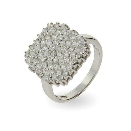 Shimmering Cushion Cut Pave CZ Right Hand Ring | Eve's Addiction®