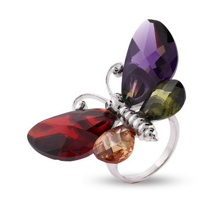 Multi Color Butterfly Sterling Silver Cocktail Ring | Eve's Addiction®