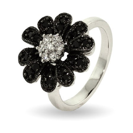 Sparkling Black CZ Daisy Ring   Eve's Addiction®