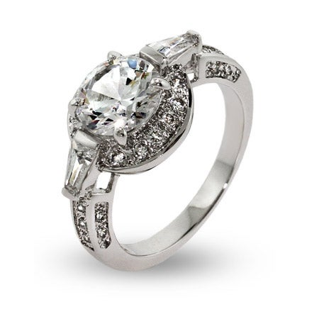 Elegant Brilliant Cut CZ Halo Ring with Baguettes | Eve's Addiction®
