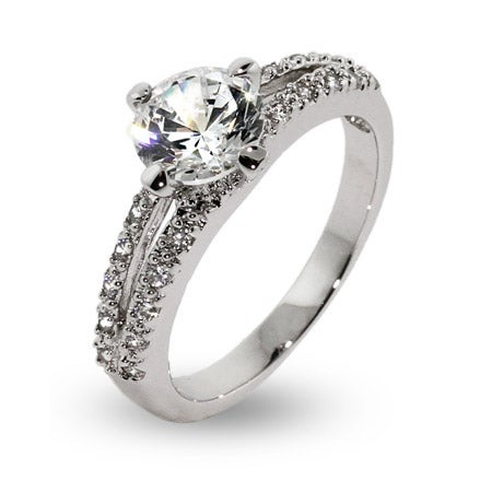 Round Brilliant Cut CZ Open Band Engagement Ring | Eve's Addiction®