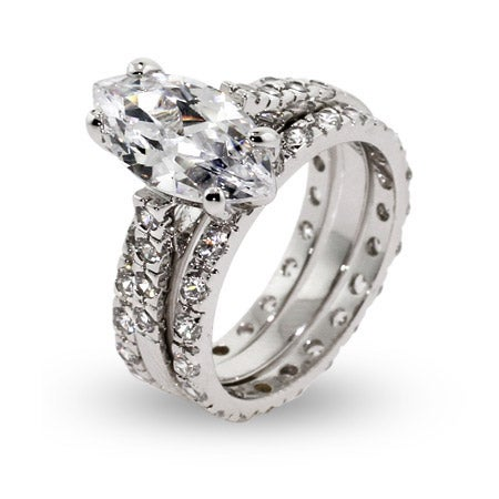 13mm Marquise Cut CZ Stone Triple Band Engagement Set | Eve's Addiction®