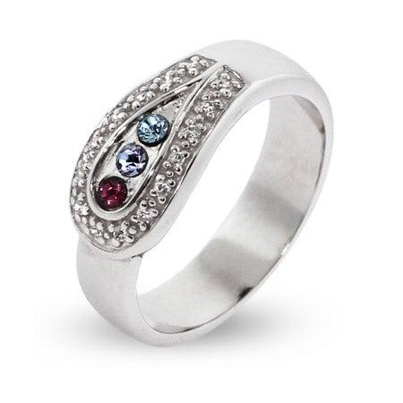 3 Stone Custom Birthstone Austrian Crystal Spoon Ring | Eve's Addiction®