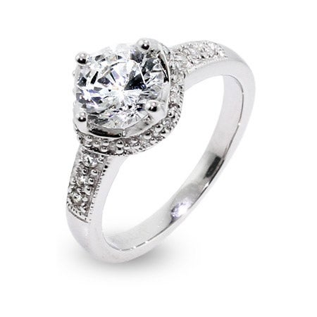 Celebrity Inspired Brilliant Cut CZ Engagement Ring | Eve's Addiction®