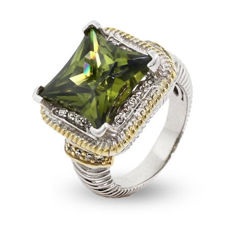 Designer Inspired Sparkling Cushion Cut Olive CZ Cable Ring | Eve's Addiction®