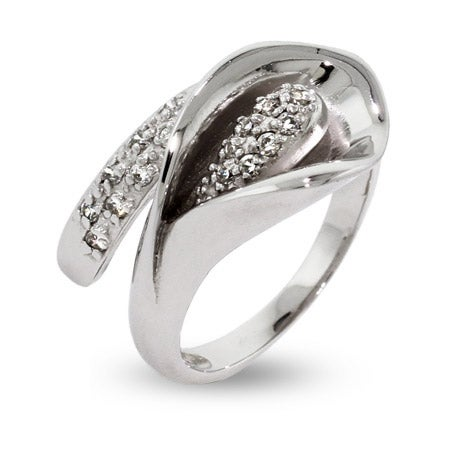Sparkling CZ Sterling Silver Calla Lily Ring  | Eve's Addiction®