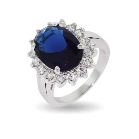 display slide 1 of 2 - Royalty Inspired Sapphire CZ Engagement Ring - selected slide