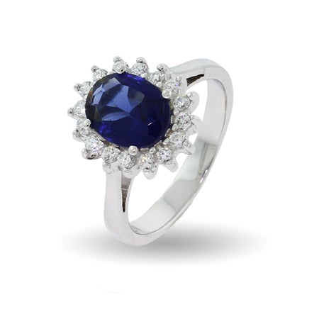 Royalty Inspired Petite Sapphire CZ Engagement Ring | Eve's Addiction®