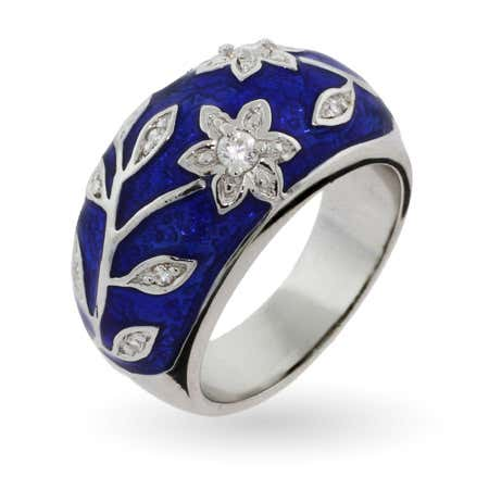 Royal Blue Enamel Ring with Vintage CZ Flower Design