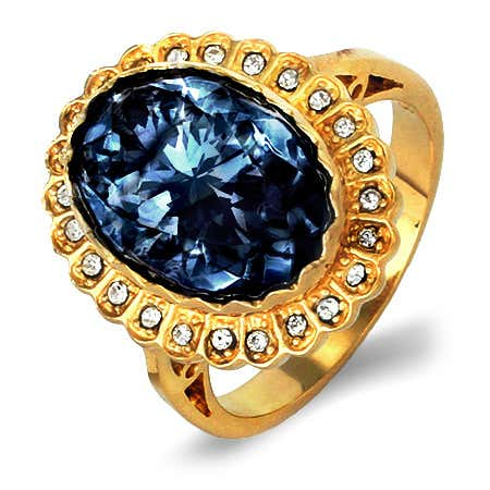 Royalty Inspired Sapphire Swarovski Crystal Engagement Ring