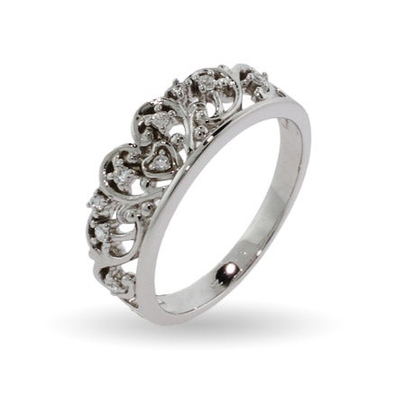 Royalty Inspired Tiara Sterling Silver CZ Ring | Eve's Addiction®