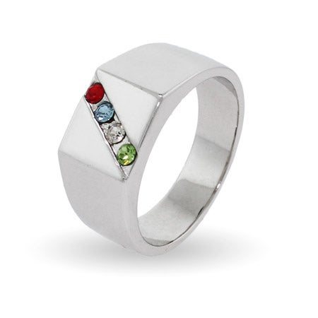 Men's Custom 4 Birthstone Austrian Crystal Ring