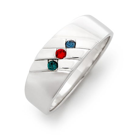 Men's Family Birthstone Sterling Silver Ring | Eve's Addiction®