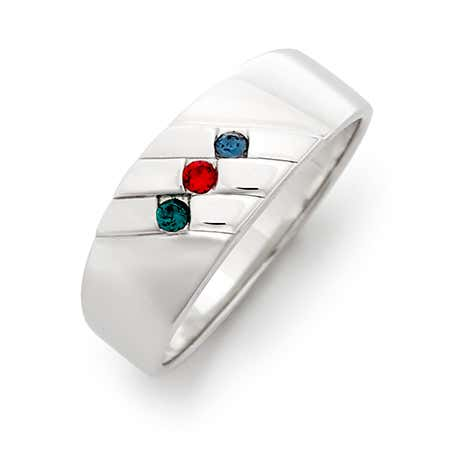 Men's Family Birthstone Sterling Silver Ring