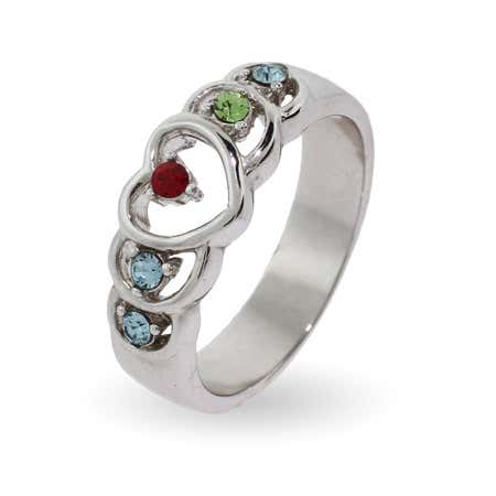 5 Stone Sterling Silver Birthstone Heart Ring