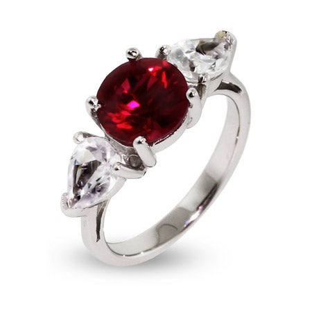 Round Cut Ruby CZ Engagement Ring | Eve's Addiction®