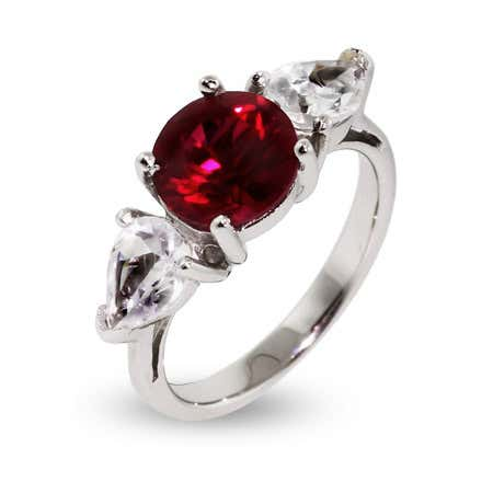 Round Cut Ruby CZ Engagement Ring   Eve's Addiction®