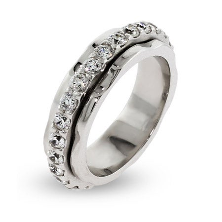 Sterling Silver Spinner Ring with CZ Band   Eve's Addiction®