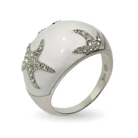 Designer Style White Enamel CZ Starfish Ring | Eve's Addiction®