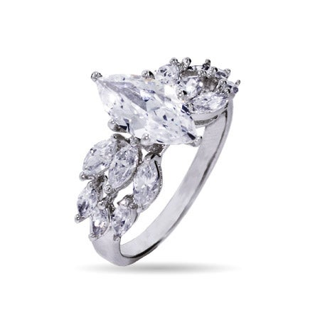 Triple Row Marquise Cut CZ Engagement Ring | Eve's Addiction®