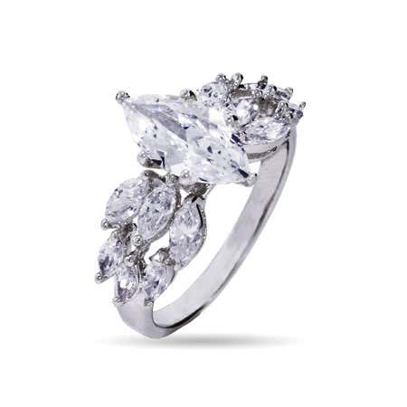 Triple Row Marquise Cut CZ Engagement Ring