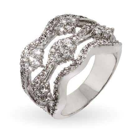 Elegant Silver Wave 5 Row Right Hand Ring | Eve's Addiction®