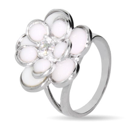 Sterling Silver White Rose Blossom Ring | Eve's Addiction®