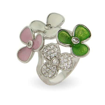 Designer Style Pastel Enamel Spring Flowers Ring