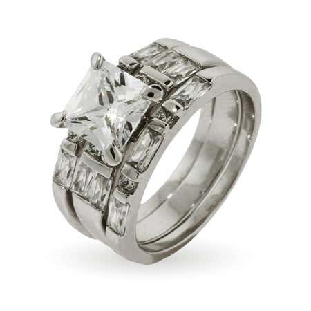 Princess Cut Three Ring Engagement Set   Eve's Addiction®