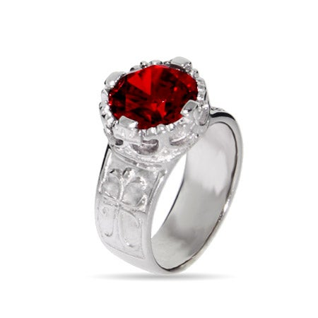 Engravable Star Cut Red CZ Gothic Cross Sterling Silver Ring
