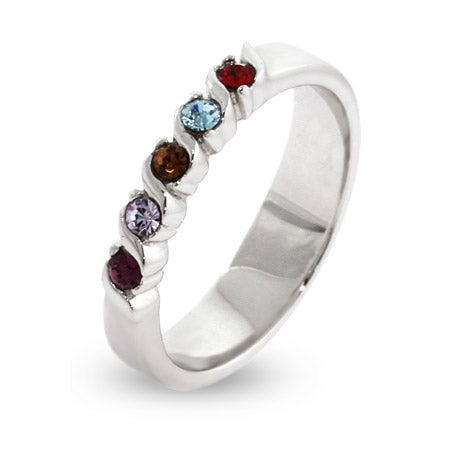 5 Custom Swarovski Crystal Birthstone Single Wave Family Ring | Eve's Addiction®