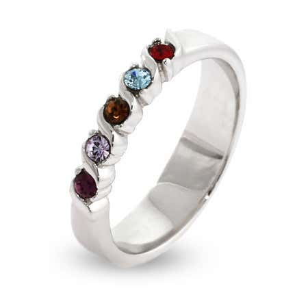 Swarovski Crystal Five Birthstone Single Wave Ring