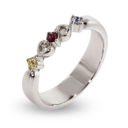 Petite Silver Engravable 3 Birthstone Ring