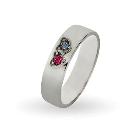 2 Birthstones in Joined Hearts Engravable Couples Band