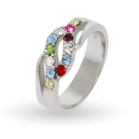 12 Stone Swarovski Crystal Waves Mother's Ring in Sterling Silver | Eve's Addiction®
