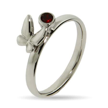 Garnet CZ Butterfly Stackable Ring | Eve's Addiction®