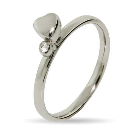 Single Heart with CZ Silver Stackable Ring | Eve's Addiction®