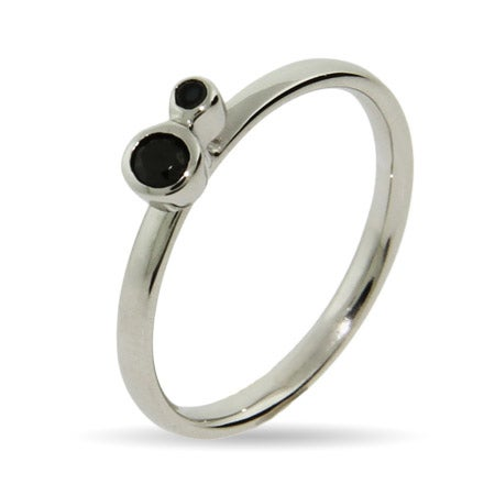 Black CZ Stackable Ring