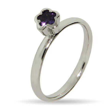 Amethyst Flower Silver Stackable Ring | Eve's Addiction®
