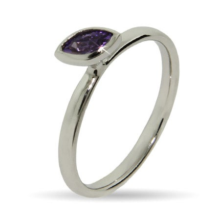 Amethyst Marquise CZ Stackable Ring | Eve's Addiction®