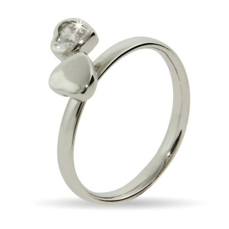 Joined Hearts Silver Stackable Ring | Eve's Addiction®