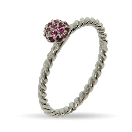 Raspberry CZ Twisted Stackable Ring
